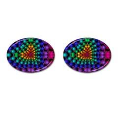 Mirror Fractal Balls On Black Background Cufflinks (oval)