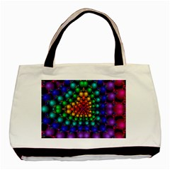 Mirror Fractal Balls On Black Background Basic Tote Bag