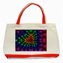 Mirror Fractal Balls On Black Background Classic Tote Bag (red)