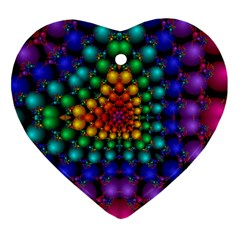 Mirror Fractal Balls On Black Background Heart Ornament (two Sides)