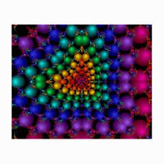 Mirror Fractal Balls On Black Background Small Glasses Cloth (2 Side)