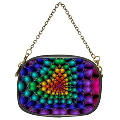 Mirror Fractal Balls On Black Background Chain Purses (one Side)