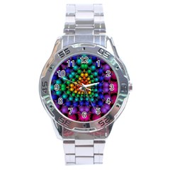 Mirror Fractal Balls On Black Background Stainless Steel Analogue Watch