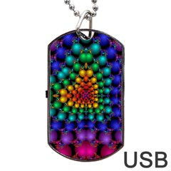 Mirror Fractal Balls On Black Background Dog Tag USB Flash (Two Sides)