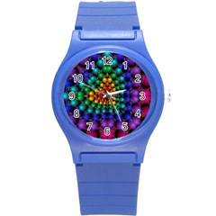 Mirror Fractal Balls On Black Background Round Plastic Sport Watch (s)