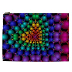 Mirror Fractal Balls On Black Background Cosmetic Bag (XXL)