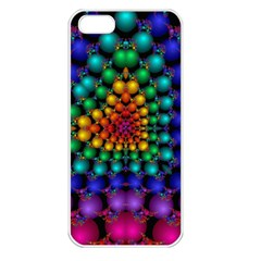 Mirror Fractal Balls On Black Background Apple iPhone 5 Seamless Case (White)
