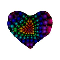 Mirror Fractal Balls On Black Background Standard 16  Premium Heart Shape Cushions