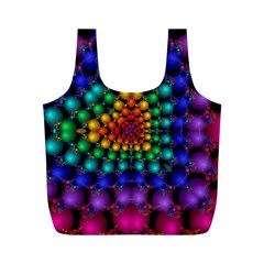 Mirror Fractal Balls On Black Background Full Print Recycle Bags (m)