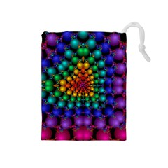 Mirror Fractal Balls On Black Background Drawstring Pouches (Medium)