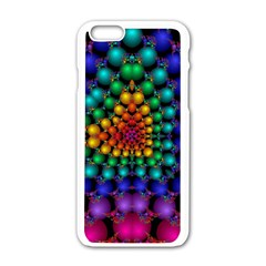 Mirror Fractal Balls On Black Background Apple iPhone 6/6S White Enamel Case