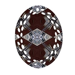 Ladder Against Wall Abstract Alternative Version Oval Filigree Ornament (two Sides)
