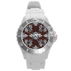Ladder Against Wall Abstract Alternative Version Round Plastic Sport Watch (L)