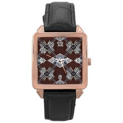 Ladder Against Wall Abstract Alternative Version Rose Gold Leather Watch