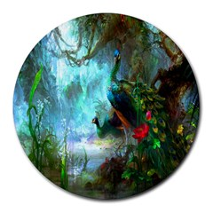 Beautiful Peacock Colorful Round Mousepads