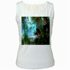 Beautiful Peacock Colorful Women s White Tank Top