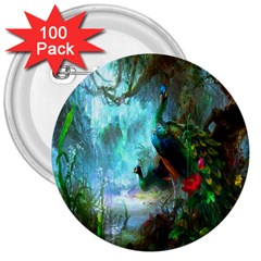 Beautiful Peacock Colorful 3  Buttons (100 Pack)