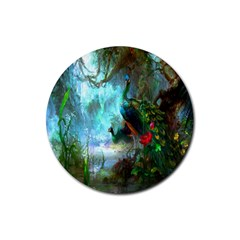Beautiful Peacock Colorful Rubber Coaster (round)