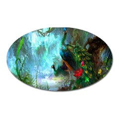 Beautiful Peacock Colorful Oval Magnet