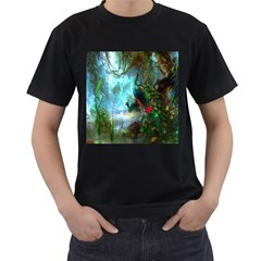 Beautiful Peacock Colorful Men s T Shirt (black) (two Sided)