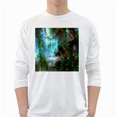 Beautiful Peacock Colorful White Long Sleeve T Shirts