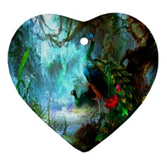 Beautiful Peacock Colorful Heart Ornament (Two Sides)
