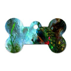 Beautiful Peacock Colorful Dog Tag Bone (one Side)