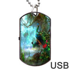 Beautiful Peacock Colorful Dog Tag USB Flash (Two Sides)