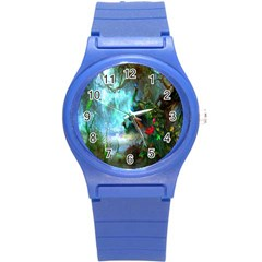 Beautiful Peacock Colorful Round Plastic Sport Watch (S)