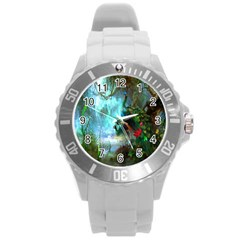 Beautiful Peacock Colorful Round Plastic Sport Watch (l)