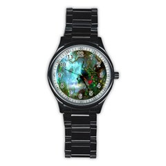 Beautiful Peacock Colorful Stainless Steel Round Watch