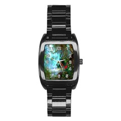 Beautiful Peacock Colorful Stainless Steel Barrel Watch