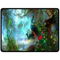 Beautiful Peacock Colorful Double Sided Fleece Blanket (Large)