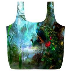 Beautiful Peacock Colorful Full Print Recycle Bags (L)