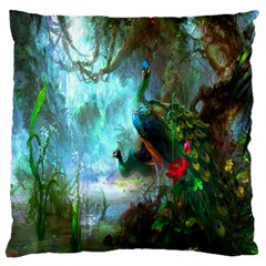 Beautiful Peacock Colorful Large Flano Cushion Case (Two Sides)
