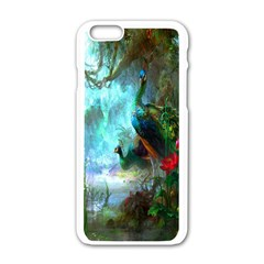 Beautiful Peacock Colorful Apple Iphone 6/6s White Enamel Case