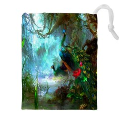 Beautiful Peacock Colorful Drawstring Pouches (xxl)
