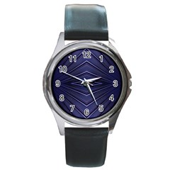 Blue Metal Abstract Alternative Version Round Metal Watch
