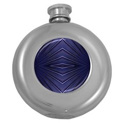 Blue Metal Abstract Alternative Version Round Hip Flask (5 oz)