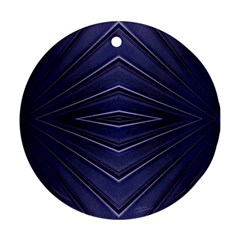 Blue Metal Abstract Alternative Version Round Ornament (two Sides)