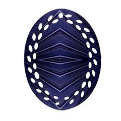 Blue Metal Abstract Alternative Version Oval Filigree Ornament (Two Sides)