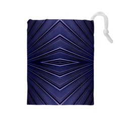 Blue Metal Abstract Alternative Version Drawstring Pouches (Large)