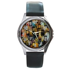 Fabric Weave Round Metal Watch