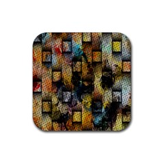 Fabric Weave Rubber Square Coaster (4 Pack)