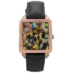 Fabric Weave Rose Gold Leather Watch