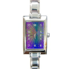 Blue Fractal That Looks Like A Starburst Rectangle Italian Charm Watch