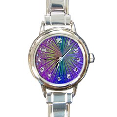 Blue Fractal That Looks Like A Starburst Round Italian Charm Watch