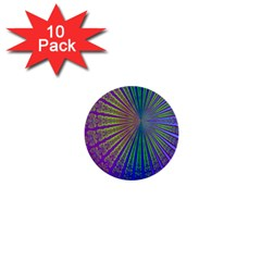 Blue Fractal That Looks Like A Starburst 1  Mini Buttons (10 pack)