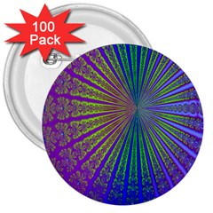 Blue Fractal That Looks Like A Starburst 3  Buttons (100 pack)