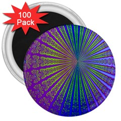 Blue Fractal That Looks Like A Starburst 3  Magnets (100 pack)